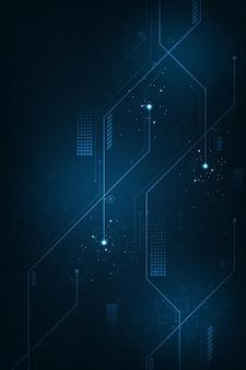수직 어두운 파란색 배경에 회로의 개념에 기술 배경.