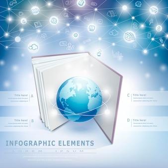 지구와 책 요소와 기술 배경 infographic