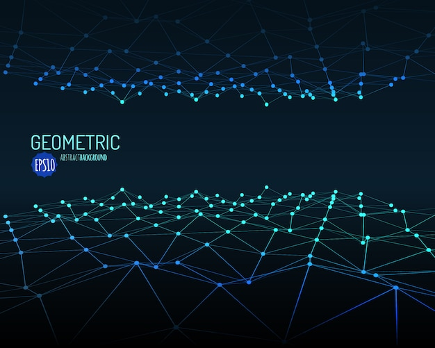 Technology  background. wireframe polygonal landscape with connected lines and dots.  .