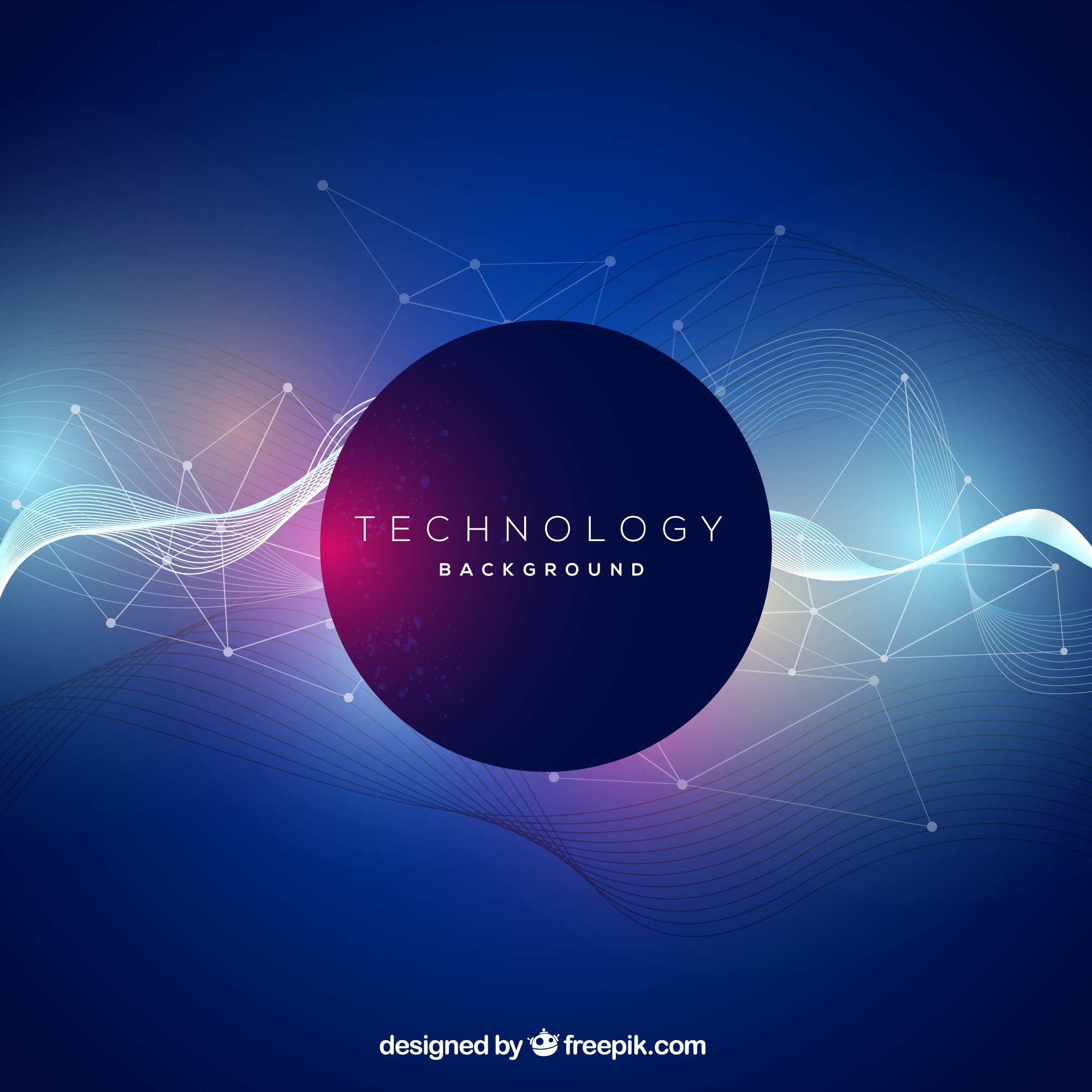 Technology background with abstract waves