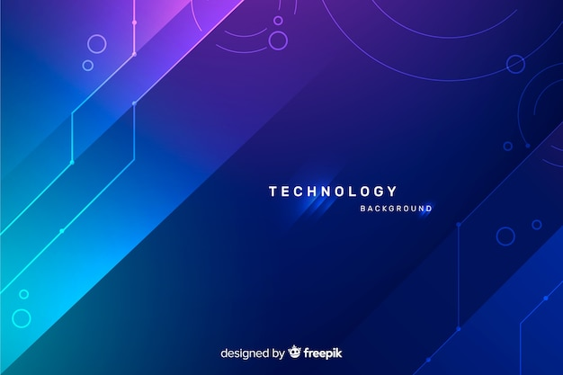 Technology background with blue abstract shapes