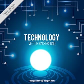 Tecnologia sfondo con circuiti e cerchi luminosi
