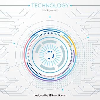 Sfondo di tecnologia con connessione in stile piano
