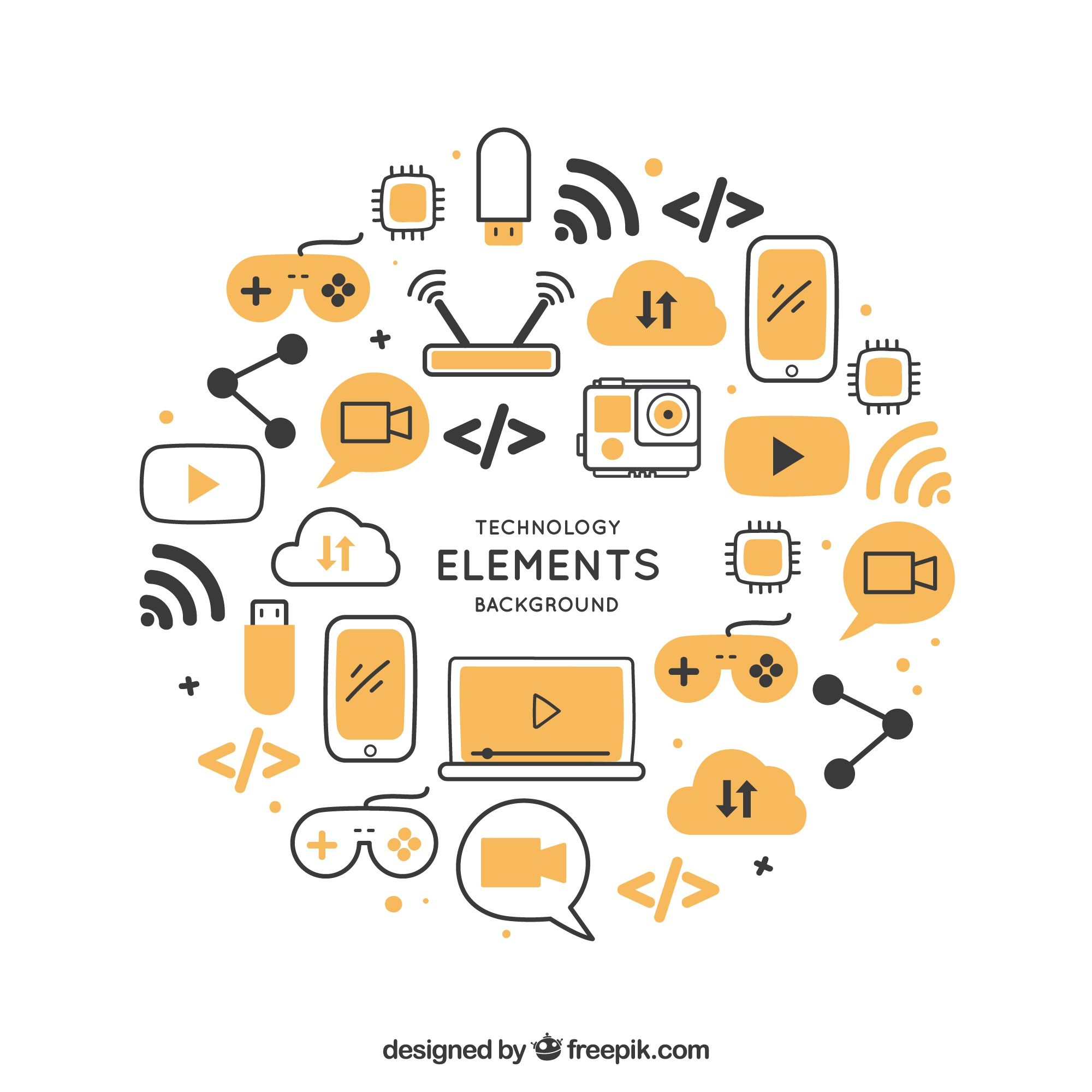 Technology background with devices in flat style