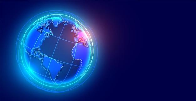 Sfondo tecnologico con la terra digitale