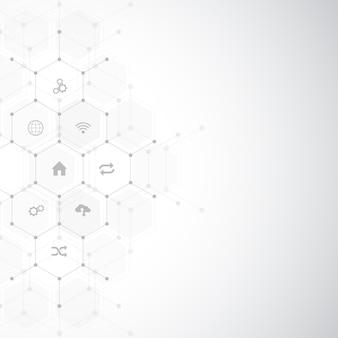 평면 아이콘 및 기호가 있는 기술 배경 개념 및 사물의 인터넷에 대한 아이디어
