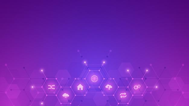 フラットアイコンとシンボルと技術の背景