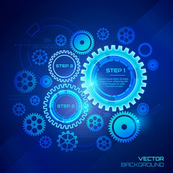 Technology background with gear wheels.