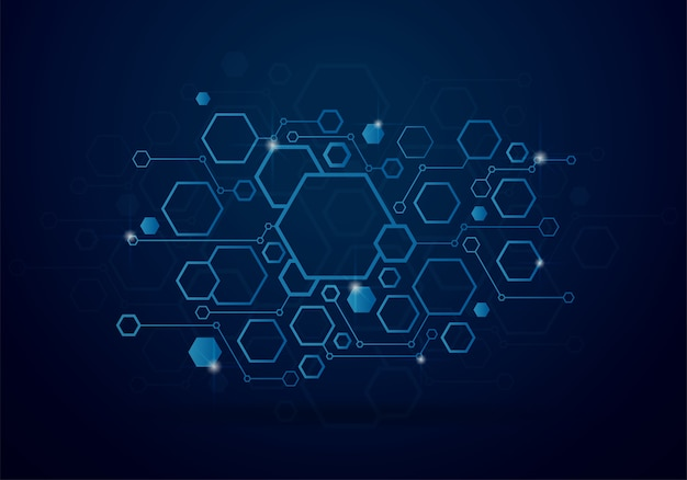 Technology background with geometric hexagon concept