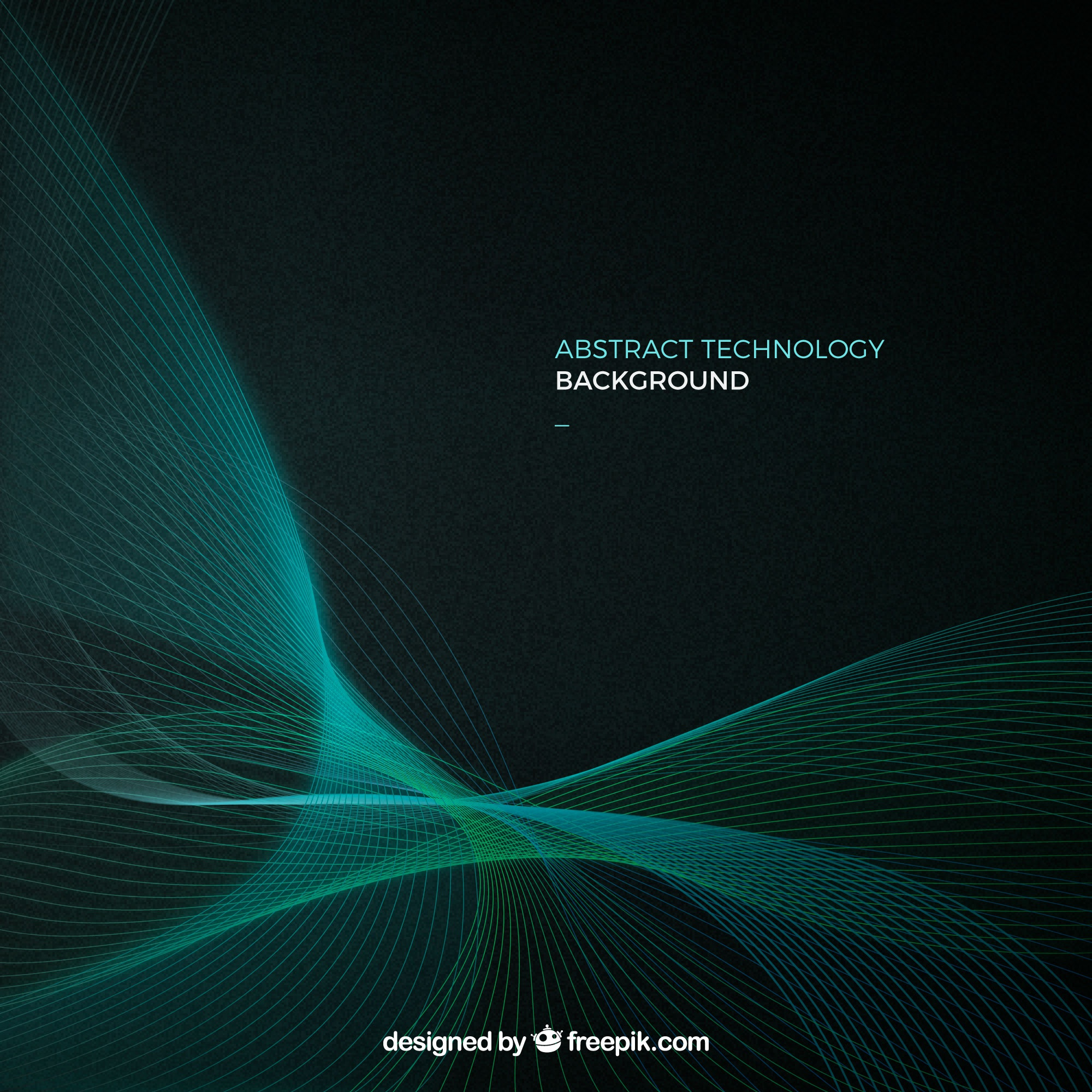 Technology background with green lines