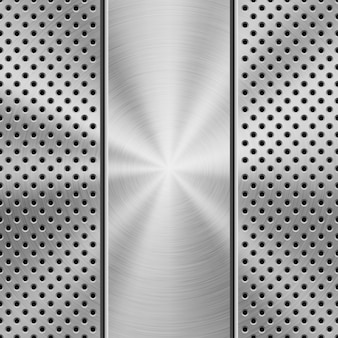 Technology background with metal texture  texture, chrome, steel, silver. Premium Vector
