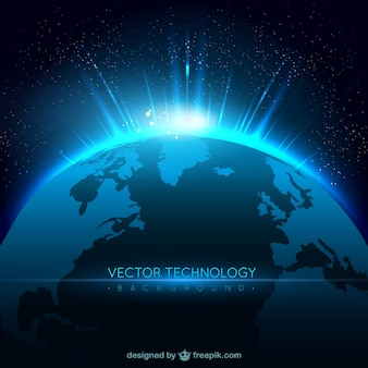 Technology background with planet Premium Vector