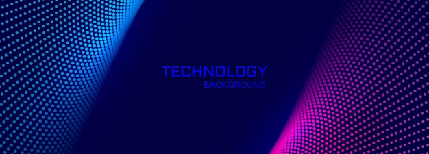 Technology banner background with connecting dotted design
