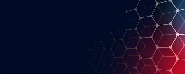 Technology banner background with hexagonal shapes and text space