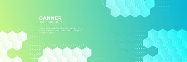 Technology banner background with yellow and blue green gradient color