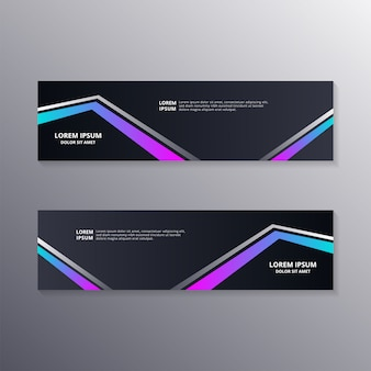 Technology banner template, abstract dark neon background suitable for web header, footer, advertising