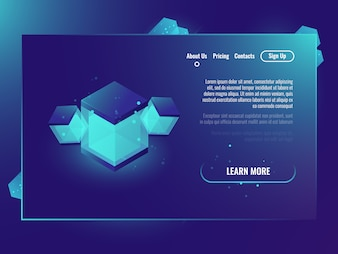 Technology banner with abstract illustration, isometric shine cube