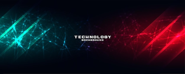 Technology banner with network mesh