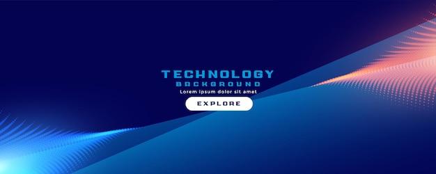 Banner tecnologico con striscia di particelle
