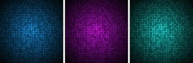 テクノロジーバナーセットグラデーショングロー円形ドット背景光る円ピクセルパターン