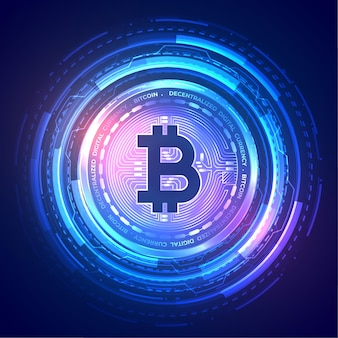 Technology bitcoin background with holographic effect