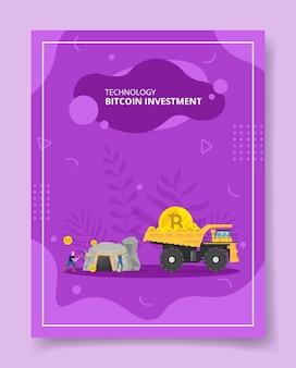 Технологические биткойн-инвестиционные майнеры копают пещерный карьерный самосвал, перевозящий монету для шаблона баннеров, флаера, обложки книг, журналов