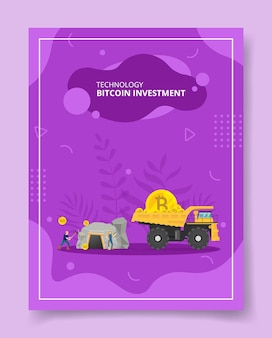 Technology bitcoin investment miners dig cave mining truck transporting coin for template of banners, flyer, books cover, magazines