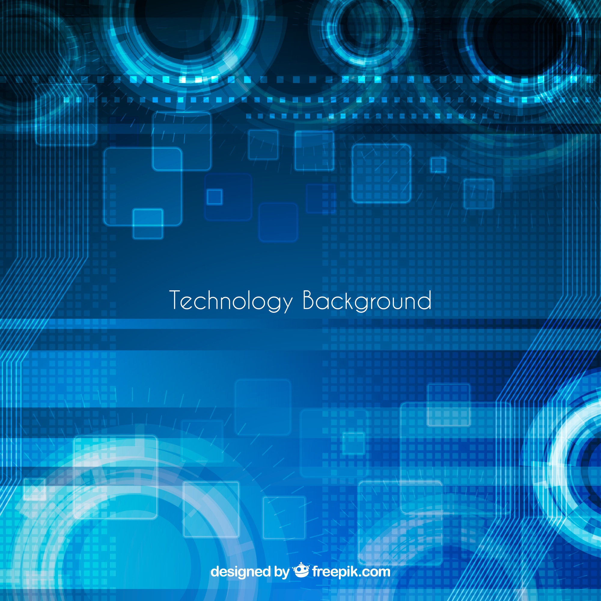 Technology blue background with abstract shapes