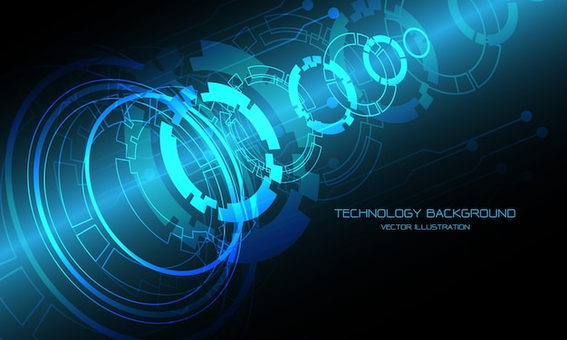 Technology blue circle cyber circuit disassemble overlap futuristic design background modern .