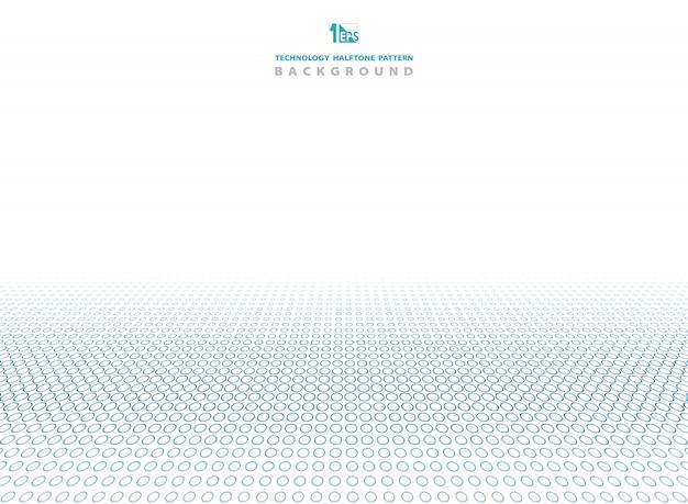 ハーフトーンサークルパターン背景の技術の青い色。