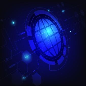 Technology blue world background