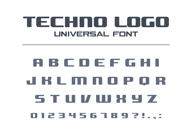 Technology bold font. geometric typography style. sport, futuristic, future techno alphabet. letters, numbers for military industry, business company logo . modern minimalistic  typeface