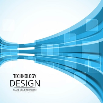 Technology brochure with blue shapes