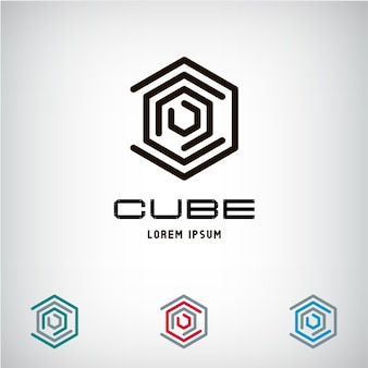 Technology business abstract cube logo