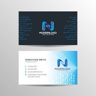 Technology business card with logo.