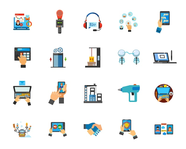 Technology in business icon set