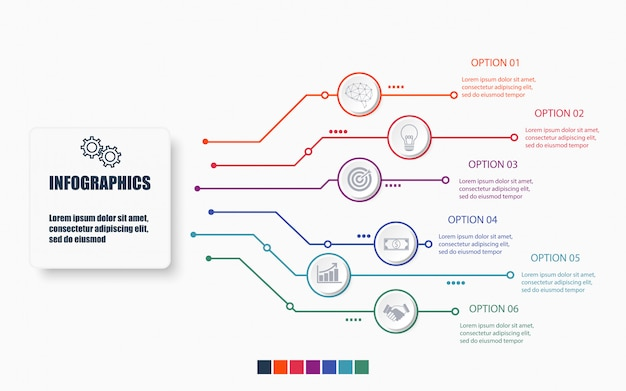 Technology and business infographic template with 6 options