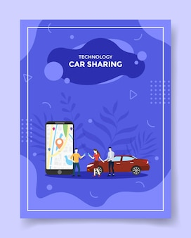 Technology car sharing people around smartphone map point location in display car