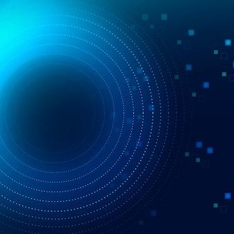 デジタルトランスフォーメーションの概念でテクノロジーサークル青い背景ベクトル