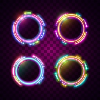 Technology circle frame design. rounded neon style