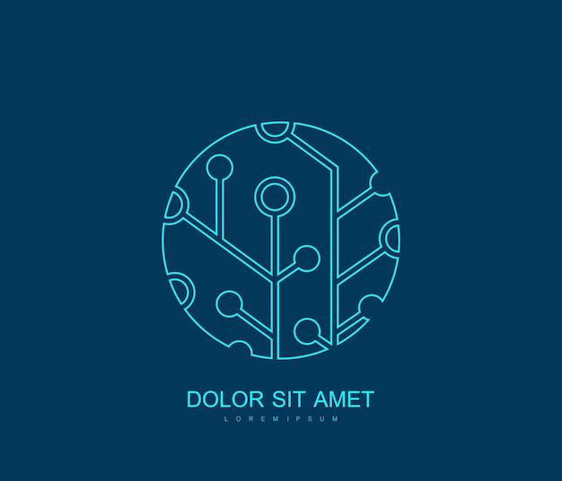 기술 회로 기판 로고 템플릿입니다. 과학 로고 개념 아이콘, 기술 벡터 기호입니다.