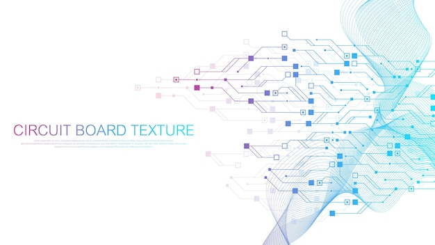 Technology circuit board texture background. abstract circuit board banner wallpaper. digital data industry. engineering electronic motherboard. wave flow , vector illustration. Premium Vector