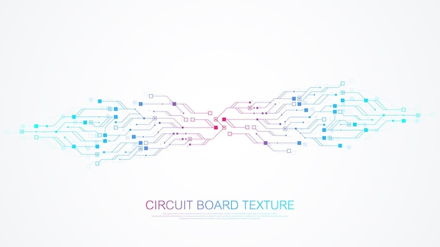Technology circuit board texture background design. futuristic blue circuit board background. minimal vector motherboard.