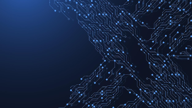 技術回路基板テクスチャ背景デザイン。未来的な青い回路基板の背景。最小限のベクトルマザーボード。