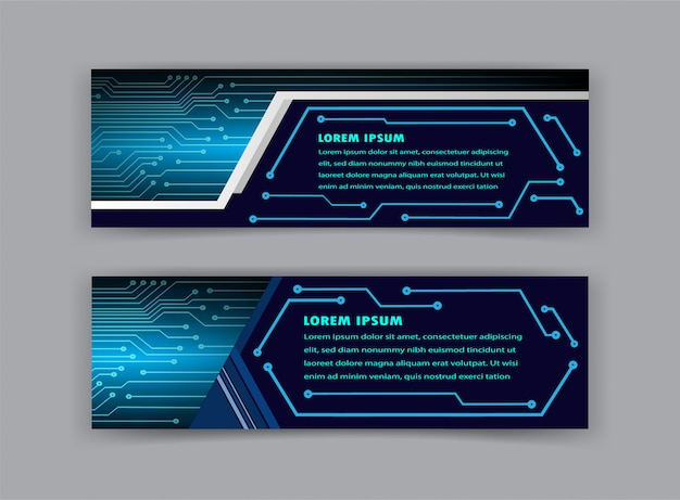 Technology circuit text box template, banner infographic