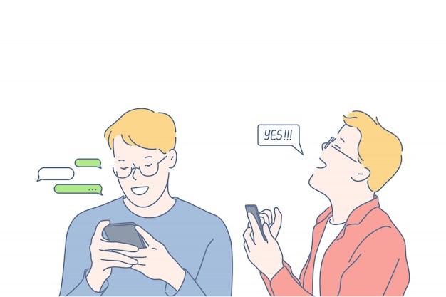 Технологии, коммуникации, социальные медиа, бизнес, иллюстрация успеха