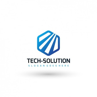 Technology company logo template Free Vector