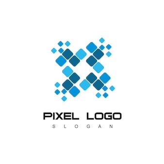 Логотип технологической компании с пиксельным символом