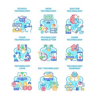 기술 회사 아이콘 벡터 일러스트를 설정합니다. 학교 및 데이터 기술, 뉴스레터 배달 및 식품 연구, 의사 시험 및 디지털 키 개발 컬러 일러스트레이션
