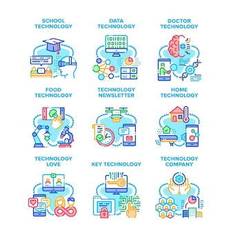 Technology company set icons vector illustrations. school and data technology, newsletter delivery and food researching, doctor examination and digital key development color illustrations